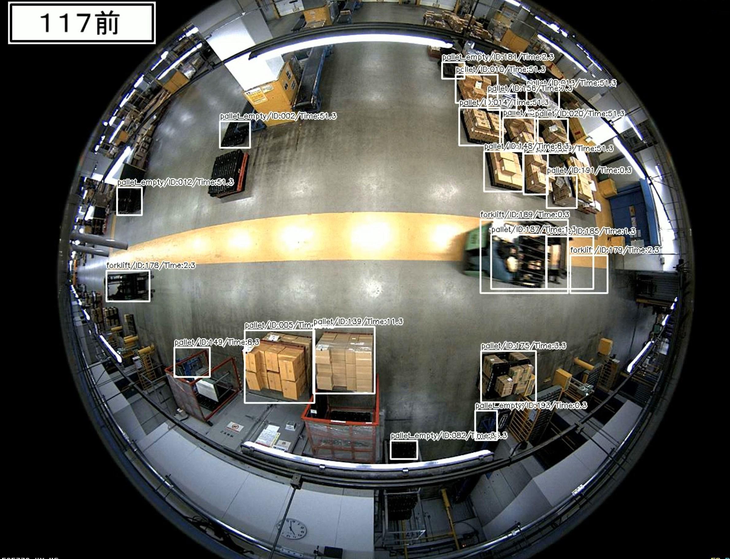 倉庫内の360度カメラをAIが分析した結果の画像